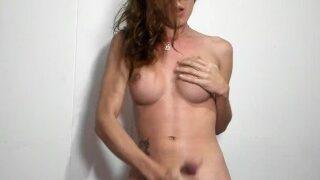 Busty shemale masturbating live on webcam